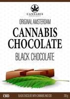 wit pakketontwerp met chocoladereep van cannabis en marihuanabladeren in 3D-stijl. wit omslagontwerp voor cannabisproducten in minimalistische stijl vector