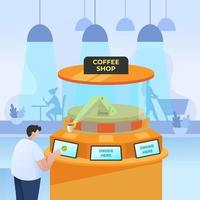 een man bestelt koffie bij een onbetrouwbare koffieshop