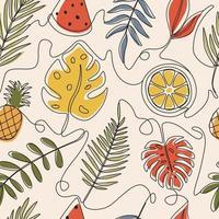 tropische zomer patroon één lijn kunst achtergrond vector