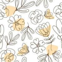 een lijntekeningen bloemen naadloze achtergrond vector