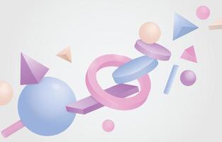 3d geometrische achtergrond met pastelkleur vector