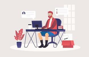 een man werkt vanuit huis met een computer vector