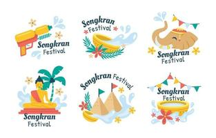 kleurrijke songkran festivalstickers vector