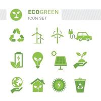 eco groene pictogramserie vector