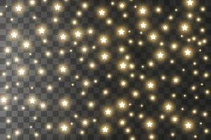 de stofvonken en gouden sterren schijnen met speciaal licht. vector schittert achtergrond. kerst lichteffect. sprankelende magische stofdeeltjes.