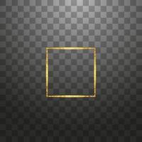 gouden glanzende gloeiende vintage frame geïsoleerde achtergrond. gouden luxe realistische rechthoekrand. vector illustratie