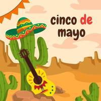 gitaar en cactus in cinco de mayo vector