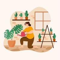 vrouw tuinieren thuis
