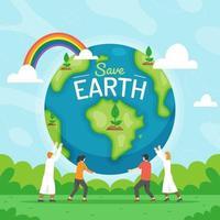 mensen werken samen om de aarde te redden
