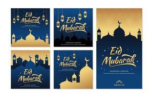 gelukkige eid mubarak-groeten vector