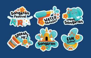 vlakke stijl kleurrijke songkran festiviteitsstickers