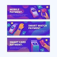nieuwe normale contactloze betalingsbanner vector