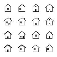 set van minimaal plat huisje, vectorillustratie. vector