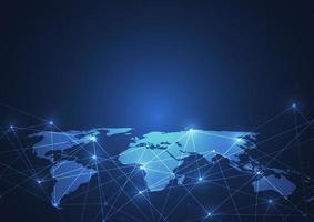 wereldwijde netwerkverbinding. wereldkaartpunt en lijnsamenstelling concept van globale zaken. vector illustratie