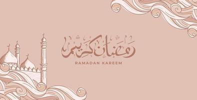 ramadan kareem met de hand getrokken islamitische achtergrond van de ornamentillustratie