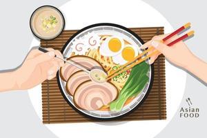 Japanse ramen noodle, traditionele Aziatische noedelsoep, illustratievector. vector