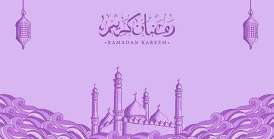 Arabische kalligrafie ramadan kareem met hand getrokken moskeeillustratie