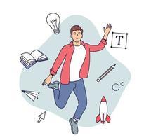 creatieve beroepen concept. mannelijke ontwerper, illustrator of freelancemedewerker ondergedompeld in het creatieve proces. vector