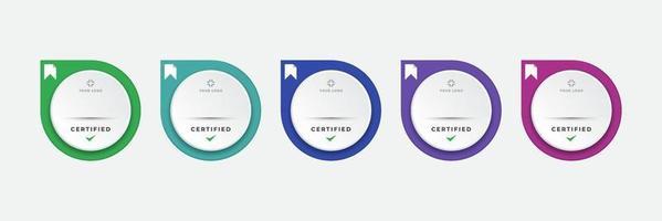 gecertificeerde digitale badge logo ontwerpsjabloon. toekomst van it-certificering voor corporate projectmerk. stel moderne pictogram vectorillustratie. vector