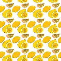naadloze verpakking fruitelementen citroen, limoen plakjes. oranje naadloos patroon voor decoratie, achtergrond, persoonlijk project en nog veel meer vector