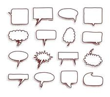 verzameling lege komische tekstballonnen met halftoonschaduwen. hand getekend retro cartoon stickers. pop-art stijl. vector illustratie.