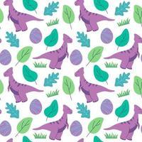 grappig dinosaurussen naadloos patroon ideaal voor kaarten, uitnodigingen, feest, banners, kleuterschool, babydouche, kleuterschool en kinderkamerdecoratie vector