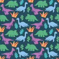 schattige dinosaurussen patroon ontwerp vector. dinosaurussen schattige kinderen patroon voor meisjes en jongens, kleurrijke tekenfilm dieren op de abstracte creatieve naadloze achtergrond, artistieke achtergrond voor textiel en stof. vector