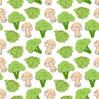 plantaardig patroon met compositiebroccoli, champignons, koolelement. perfect voor voedselachtergrond, behang, textiel. vector illustratie