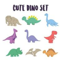 set schattige dino kleurelementen. dino set, gelukkige schattige kleurrijke dinosaurussen vector