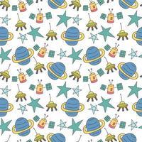 patroon naadloze wetenschap kid doodle element. naadloze kinderen ruimte patroon met pictogrammen vector