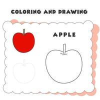 kleur- en tekenboek element appel. tekening van een aardbei voor de opvoeding van kinderen