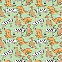 patroon naadloze kinderen met dino doodle element. hand getrokken dinosaurussen en tropische bladeren. leuke grappige cartoon dino naadloze patroon. hand getekend vector textuur voor kinderen ontwerp. vector illustratie