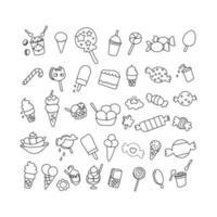set element verjaardag woestijn doodle. hand getrokken doodle snoepjes set vector illustratie schetsmatig zoet voedsel iconen collectie geïsoleerde woestijn symbolen op witte achtergrond cupcake macaron chocoladereep snoep cake taart gebak lolly gebak