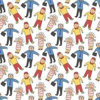 patroon naadloze kinderen met volwassenen doodle element. medische mensen naadloze patroon.