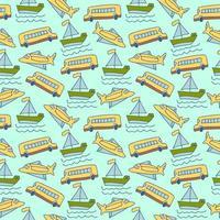 naadloze patroon zeevracht. naadloze patroon van transportbeeldverhalen vector