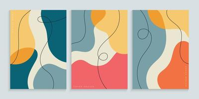uit de vrije hand omslag achtergrondcollectie met minimale kleurrijke vormen vector