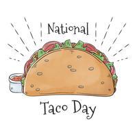 Schattig Taco-eten met hete saus vector