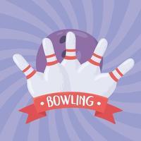 bowlingbal wat betreft witte pinnen vector