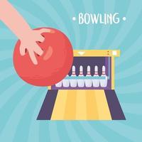 bowlinghand met bal en steeg met pinnen vector
