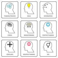 lijntekeningen iconen van de menselijke geest, denkproces en gedachte. pictogramverzameling en eenvoudige vector set