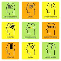 lijntekeningen icoon van de menselijke geest, denkproces, karakteristiek, ziekte en psychologische termen vector