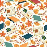 naadloze patroon met boeken en bladeren