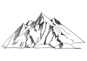 lijntekeningen of schetsillustratie van een berg vector