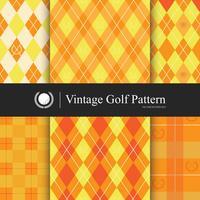 Vintage golfpatroon ingesteld, oranje kleur vector
