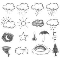 doodle illustratie van weerpictogrammen vector