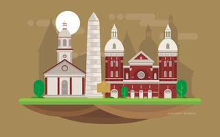 Augusta City Landmark. Augusta Georgia briefkaart illustratie. vector