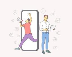 financiën, analyse, teamwerkconcept. twee mannen zakenpartners werknemers stripfiguren die financiële gegevens en marketinginformatiestatistieken samen analyseren. platte vectorillustratie