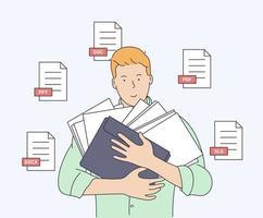 document, zaken, boekhouding, zoekconcept. jonge lachende man met een aantal documenten klaar om te werken. platte vectorillustratie