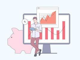 financiën, marketing data analytics concept. zakenman werknemer stripfiguur financiële gegevens analyseren. platte vectorillustratie