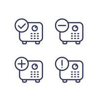 aanbetaling, kluis met vinkje, symboollijn vector icons.eps toevoegen